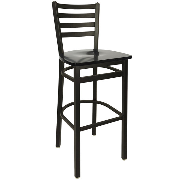 BFM Seating 2160BBLW-SB Lima Metal Ladder Back Barstool with Black Wooden Seat  sc 1 st  Webstaurant Store & Seating 2160BBLW-SB Lima Metal Ladder Back Barstool with Black ... islam-shia.org