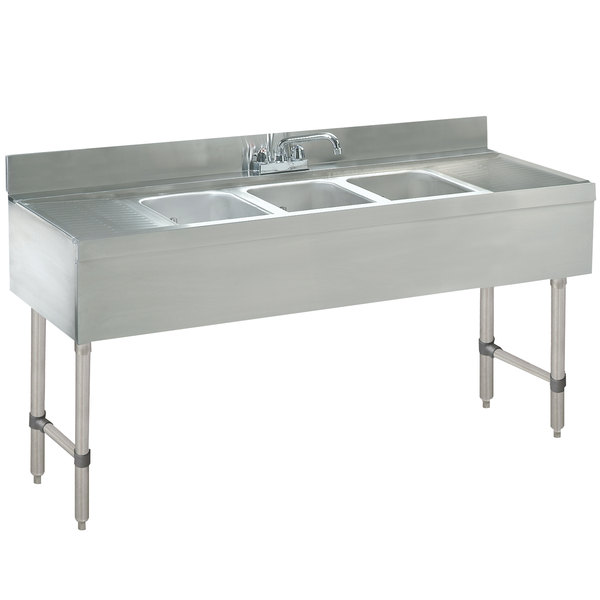 """Advance Tabco CRB-53C Lite Three Compartment Stainless Steel Bar Sink with Two 12"""" Drainboards - 60"""" x 21"""""""