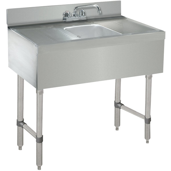 """Advance Tabco CRB-31C Lite One Compartment Stainless Steel Bar Sink with Two 12"""" Drainboards - 36"""" x 21"""""""