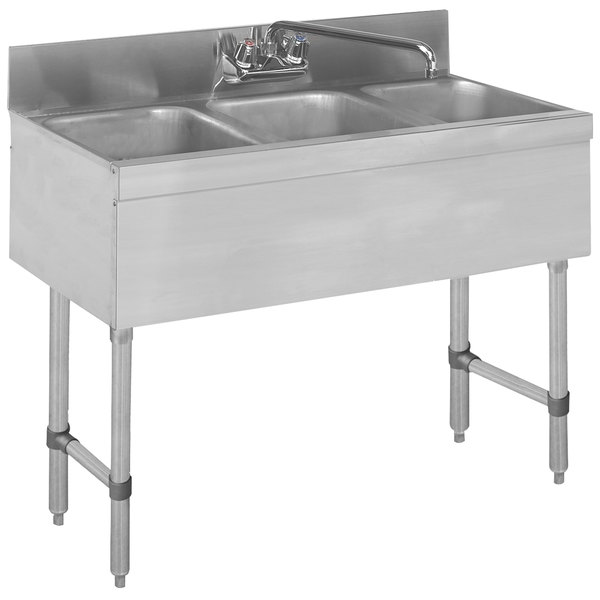 """Advance Tabco SLB-33C Lite Three Compartment Stainless Steel Bar Sink - 36"""" x 18"""""""