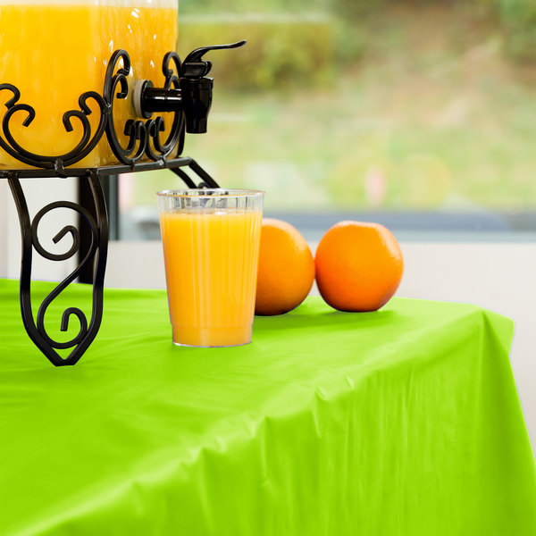 Creative Converting 763123 100' Fresh Lime Green Disposable Plastic Table Cover Main Image 4