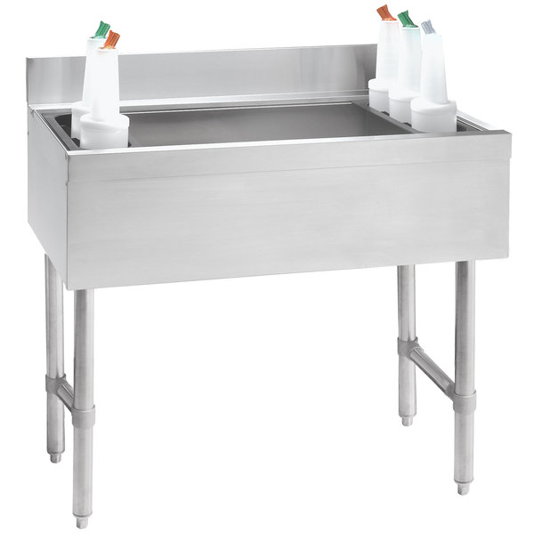 """Advance Tabco CRI-12-30-7 Stainless Steel Underbar Ice Bin with 7-Circuit Cold Plate - 30"""" x 21"""" Main Image 1"""