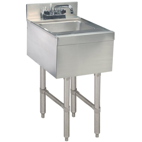 """Advance Tabco CR-HS-12 Stainless Steel Underbar Hand Sink with Deck Mount Faucet - 12"""" x 21"""""""