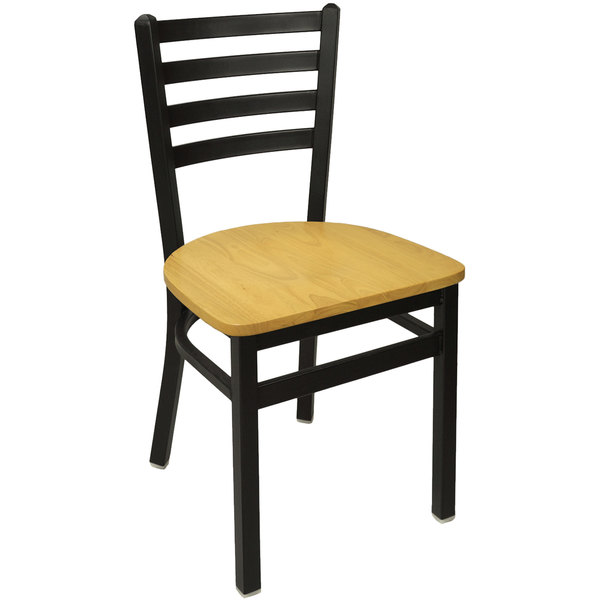 BFM Seating 2160CNTW SB Lima Metal Ladder Back Side Chair With Natural  Wooden Seat