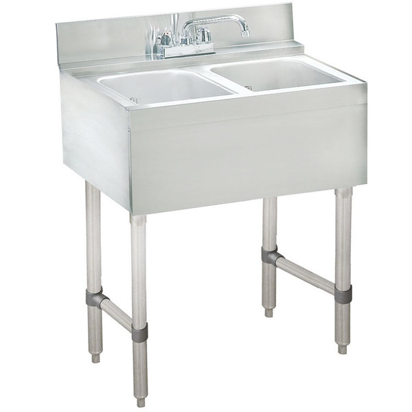 """Advance Tabco CRB-22C Lite Two Compartment Stainless Steel Bar Sink - 24"""" x 21"""""""