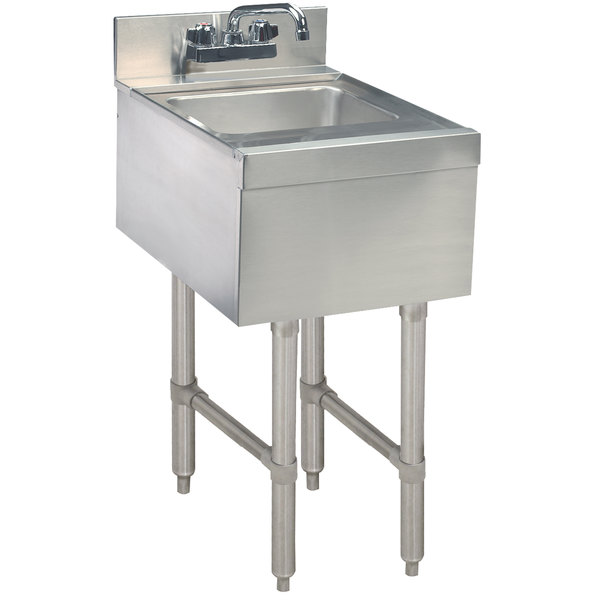 """Advance Tabco SL-HS-15 Stainless Steel Underbar Hand Sink with Splash Mount Faucet - 15"""" x 18"""""""
