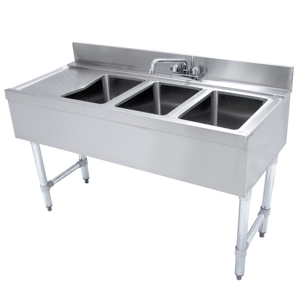 """Advance Tabco CRB-43R Lite Three Compartment Stainless Steel Bar Sink with 9"""" Drainboard - 48"""" x 21"""" (Right Side Sink) Main Image 1"""
