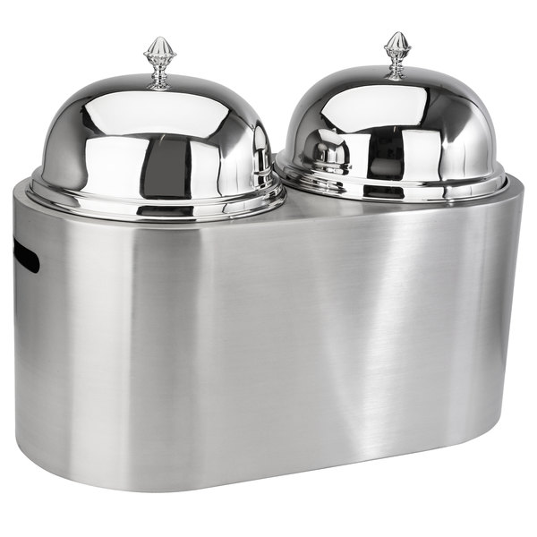 Eastern Tabletop 7007 6 Gallon Oval Stainless Steel Insulated Double Ice Cream Unit with Dome Lids and Cutout Handles