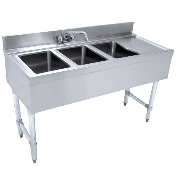 """Advance Tabco CRB-43L Lite Three Compartment Stainless Steel Bar Sink with 9"""" Drainboard - 48"""" x 21"""" (Left Side Sink) Main Image 1"""