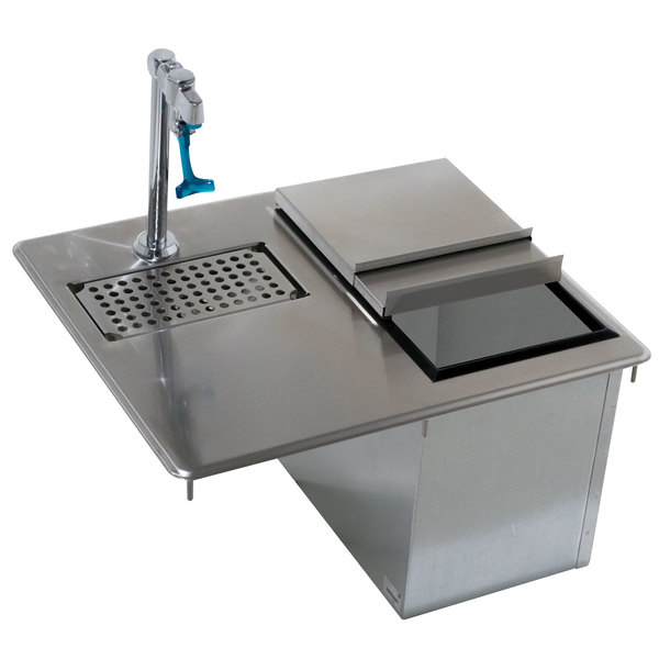 "Advance Tabco D-24-WSIBL Stainless Steel Water Station with Ice Bin - 21 1/4"" x 18"" Main Image 1"
