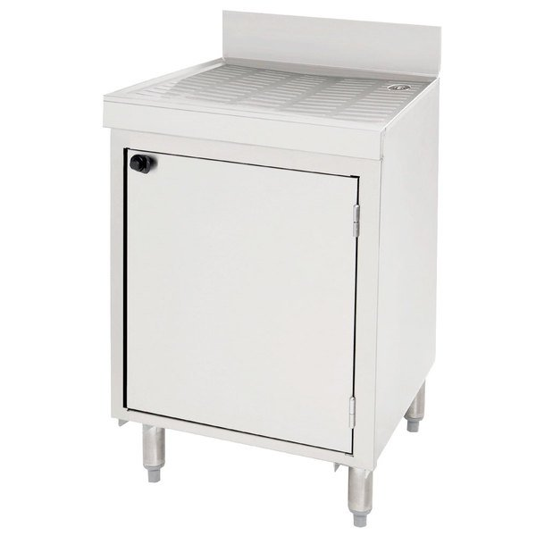 """Advance Tabco CRD-2BMD Stainless Steel Drainboard Storage Cabinet with Mid-Shelf and Door - 24"""" x 21"""""""