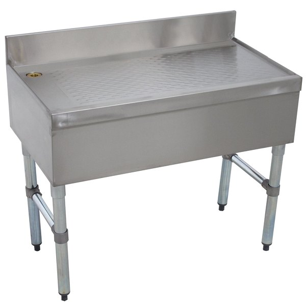 """Advance Tabco CRD-30 Stainless Steel Free-Standing Bar Drainboard - 30"""" x 21"""""""