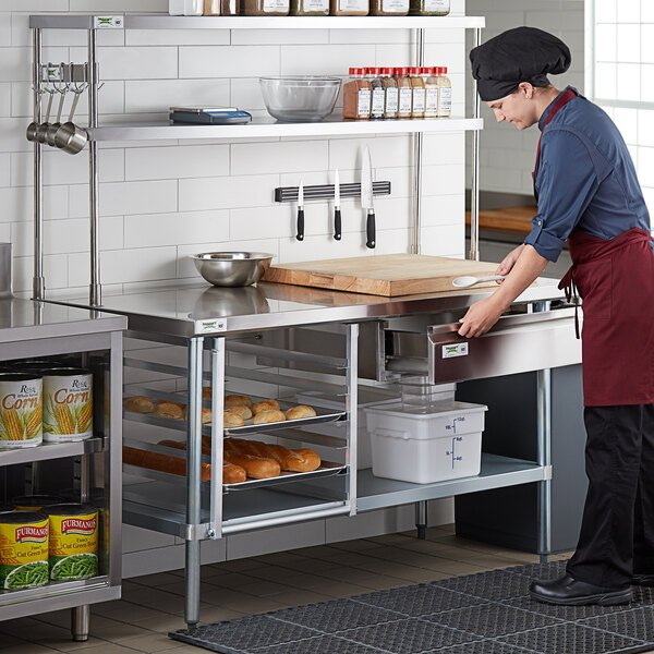 "Regency Stainless Steel Double Deck Overshelf - 12"" x 60"" x 32"" Main Image 6"