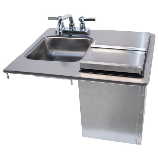 """Advance Tabco D-24-SIBL Stainless Steel Drop-In Hand Sink with Ice Bin - 21 1/4"""" x 18"""""""