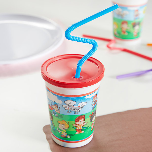 Plastic Kid S Cup With Reusable Lid And Curly Straw 250 Case Image Preview