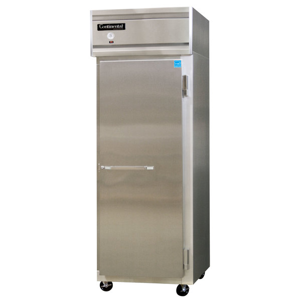 "Continental Refrigerator 1RE-SS 28 1/2"" Solid Door Extra-Wide Reach-In Refrigerator - 21 cu. ft."
