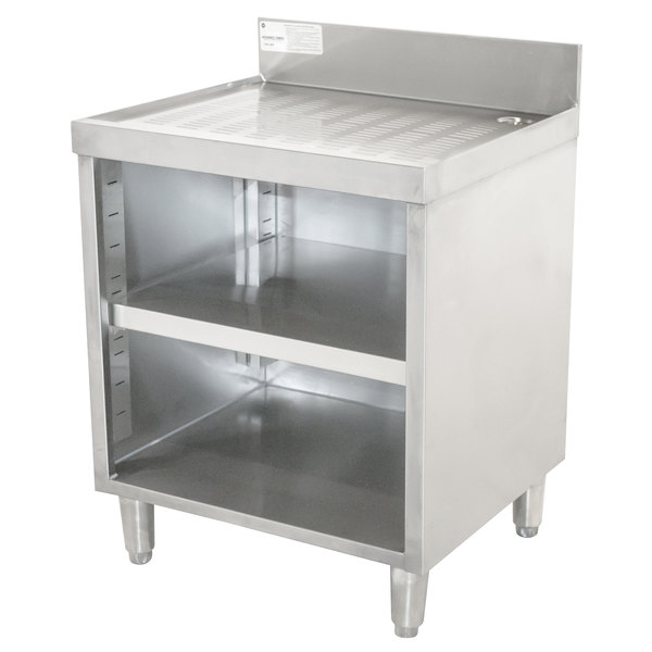 "Advance Tabco CRD-2BM Stainless Steel Drainboard Storage Cabinet with Open Front and Mid-Shelf - 24"" x 21"" Main Image 1"
