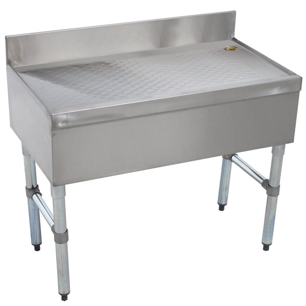 """Advance Tabco CRD-12 Stainless Steel Free-Standing Bar Drainboard - 12"""" x 21"""" Main Image 1"""