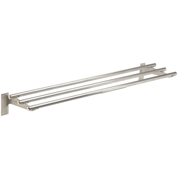 "Advance Tabco TTR-4 Stainless Steel Tubular Tray Slide with Fixed Brackets - 62 3/8"" x 10"" Main Image 1"