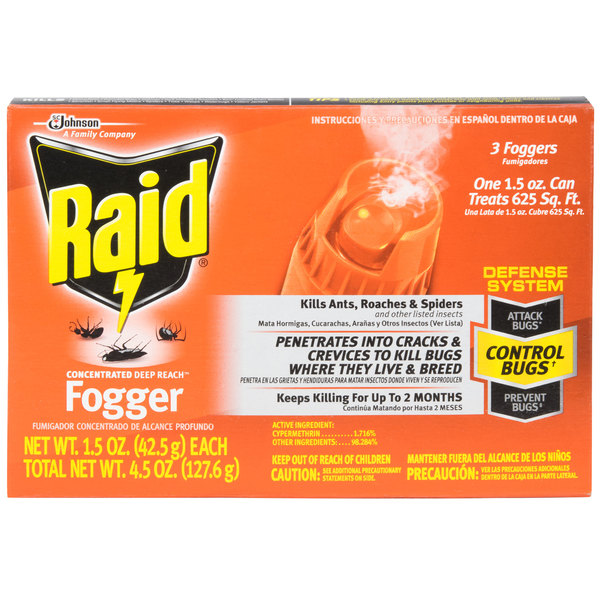 SC Johnson Raid® 1.5 oz. Concentrated Deep Reach Fogger - 3/Pack