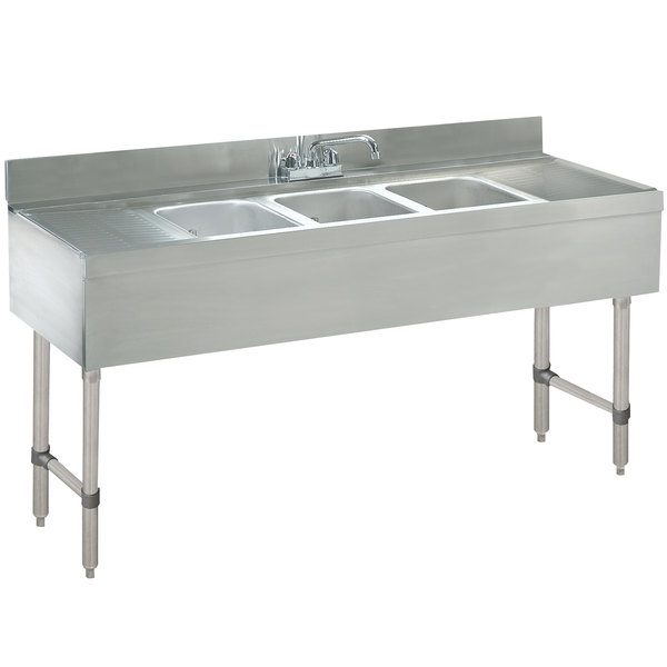 "Advance Tabco CRB-83C Lite Three Compartment Stainless Steel Bar Sink with Two 30"" Drainboards - 96"" x 21"""