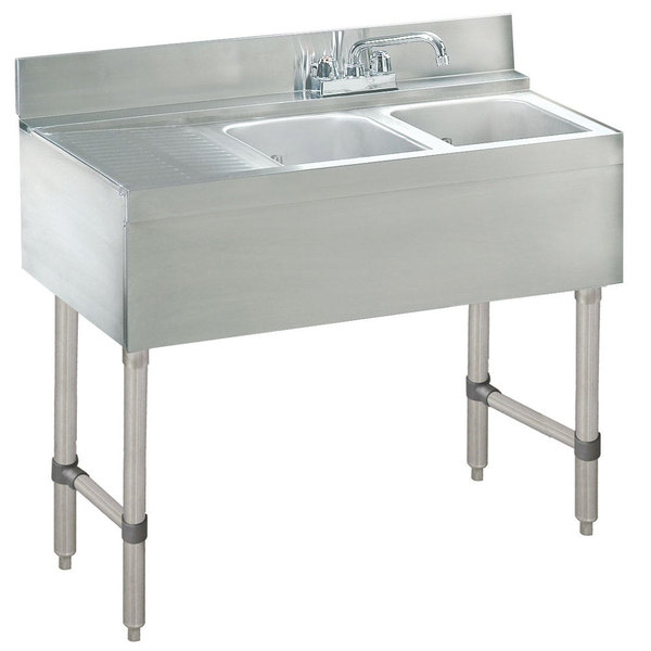 "Advance Tabco CRB-32R Lite Two Compartment Stainless Steel Bar Sink with 9"" Drainboard - 36"" x 21"" (Right Side Sink)"