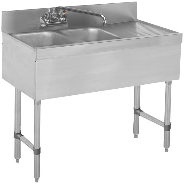 """Advance Tabco SLB-42L Lite Two Compartment Stainless Steel Bar Sink with 21"""" Drainboard - 48"""" x 18"""" (Left Side Sink)"""