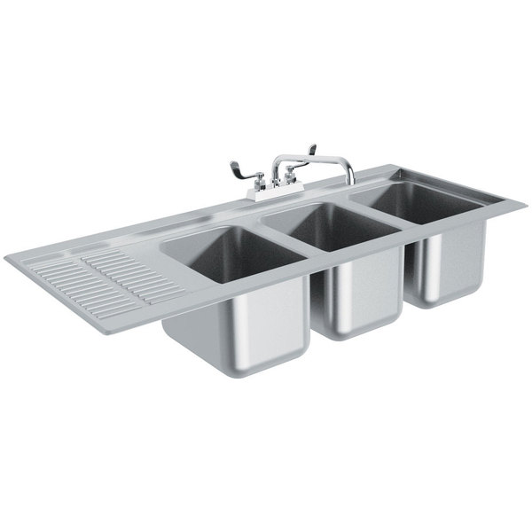 "Advance Tabco DBS-43R Three Compartment Stainless Steel Drop-In Bar Sink with 12"" Drainboard - 48"" x 20"" (Right Side Sink)"