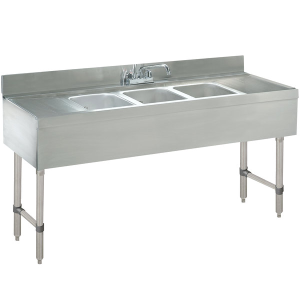 "Advance Tabco CRB-73C Lite Three Compartment Stainless Steel Bar Sink with Two 24"" Drainboards - 84"" x 21"" Main Image 1"