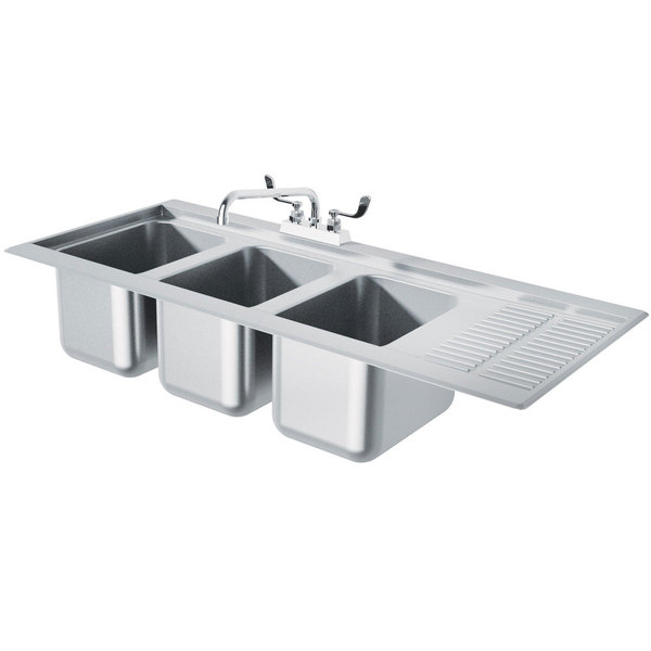 """Advance Tabco DBS-43L Three Compartment Stainless Steel Drop-In Bar Sink with 12"""" Drainboard - 48"""" x 20"""" (Left Side Sink)"""