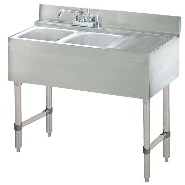 """Advance Tabco CRB-42L Lite Two Compartment Stainless Steel Bar Sink with 21"""" Drainboard - 48"""" x 21"""" (Left Side Sink)"""