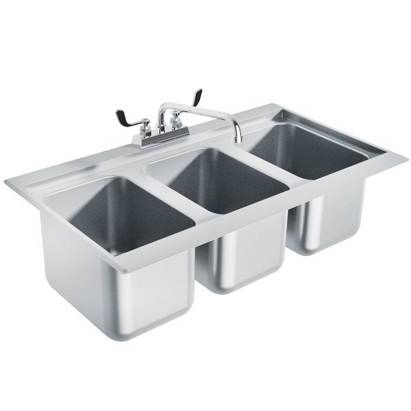 """Advance Tabco DBS-3 Three Compartment Stainless Steel Drop-In Bar Sink - 36"""" x 20"""""""