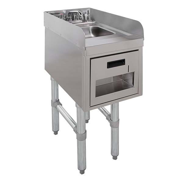 """Advance Tabco SC-12-TS-S Stainless Steel Underbar Hand Sink with Soap / Towel Dispensers and Side Splashes - 12"""" x 21"""" Main Image 1"""