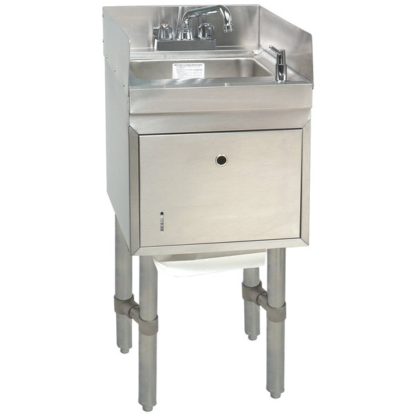 "Advance Tabco SC-12-TS-S Stainless Steel Underbar Hand Sink with Soap / Towel Dispensers and Side Splashes - 12"" x 21"""