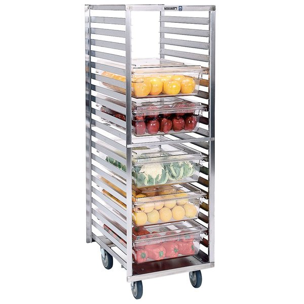 """Lakeside 166 Stainless Steel Roll-In Food Box and Steam Table Pan Rack with 2 5/8"""" Ledge Spacing - 20 Pan Capacity Main Image 1"""
