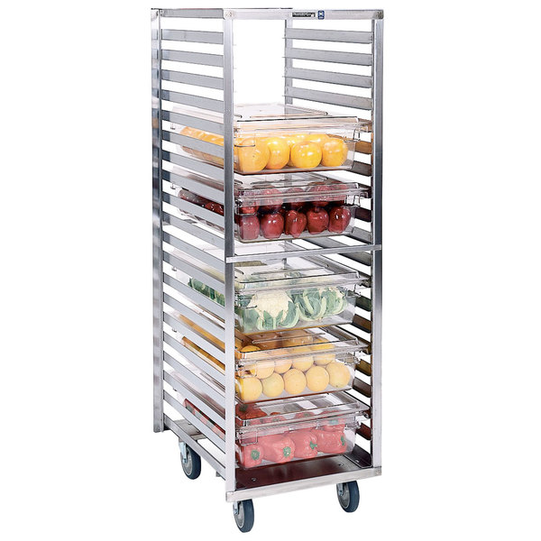 """Lakeside 166 Stainless Steel Roll-In Food Box and Steam Table Pan Rack with 2 5/8"""" Ledge Spacing - 20 Pan Capacity"""