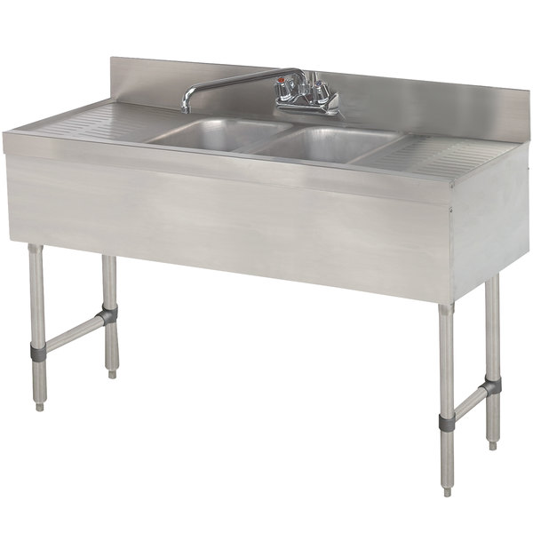 "Advance Tabco SLB-42C Lite Two Compartment Stainless Steel Bar Sink with Two 12"" Drainboards - 48"" x 18"""
