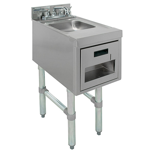 """Advance Tabco SC-12-TS Stainless Steel Underbar Hand Sink with Soap / Towel Dispensers - 12"""" x 21"""" Main Image 1"""