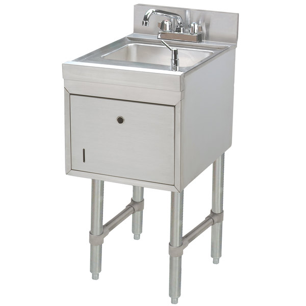 """Advance Tabco SC-12-TS Stainless Steel Underbar Hand Sink with Soap / Towel Dispensers - 12"""" x 21"""""""