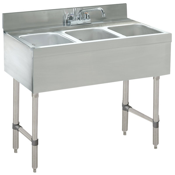 "Advance Tabco CRB-33C Lite Three Compartment Stainless Steel Bar Sink - 36"" x 21"""