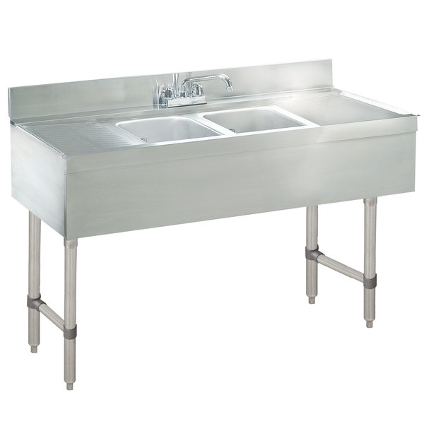 """Advance Tabco CRB-42C Lite Two Compartment Stainless Steel Bar Sink with Two 12"""" Drainboards - 48"""" x 21"""""""