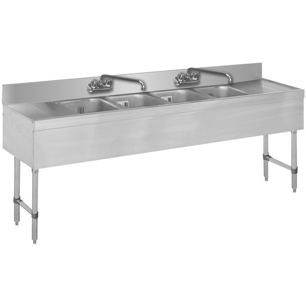 "Advance Tabco SLB-84C Lite Four Compartment Stainless Steel Bar Sink with Two 24"" Drainboards - 96"" x 18"""