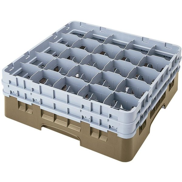 """Cambro 25S638184 Camrack 6 7/8"""" High Customizable Beige 25 Compartment Glass Rack"""