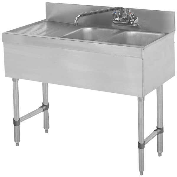 """Advance Tabco SLB-42R Lite Two Compartment Stainless Steel Bar Sink with 21"""" Drainboard - 48"""" x 18"""" (Right Side Sink)"""