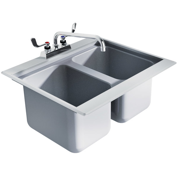 "Advance Tabco DBS-2 Two Compartment Stainless Steel Drop-In Bar Sink - 24"" x 20"""