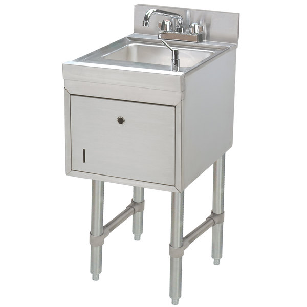 "Advance Tabco SC-15-TS Stainless Steel Underbar Hand Sink with Soap / Towel Dispensers - 15"" x 21"""