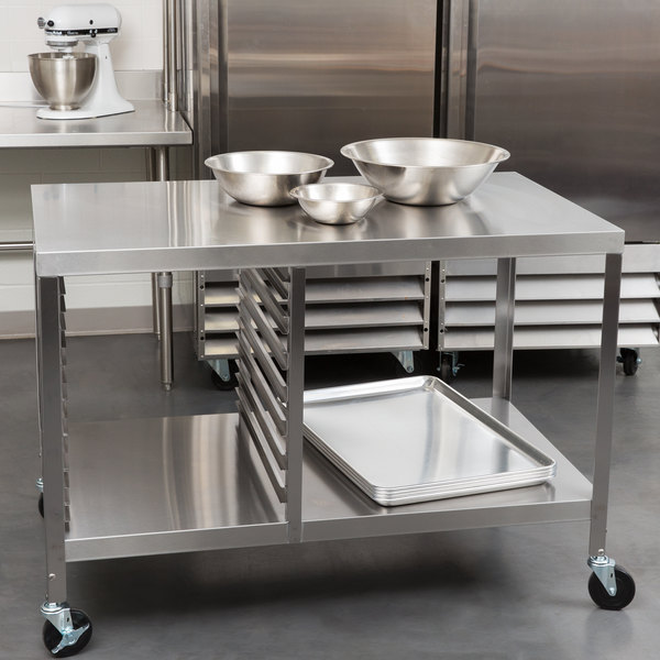 """Lakeside 130 Stainless Steel Work Table with Sheet Pan Storage and Lower Shelf - 48"""" x 27"""" x 34"""""""