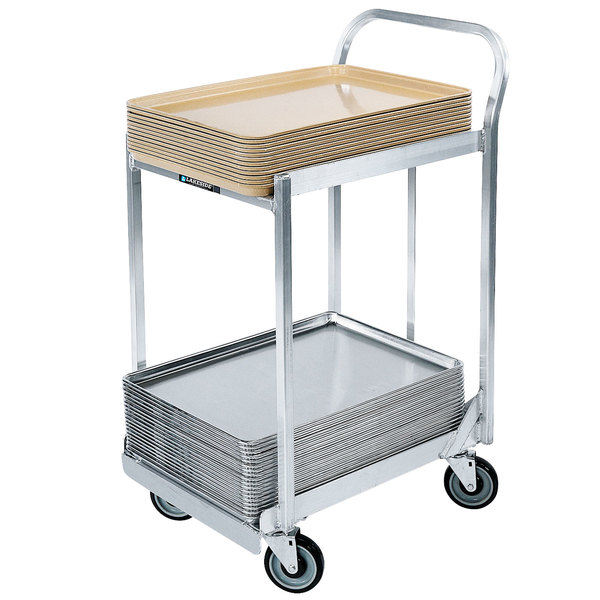 """Lakeside 633 Aluminum Two Tier Sheet Pan Dolly with Sides, Handles, with 5"""" Casters Main Image 1"""