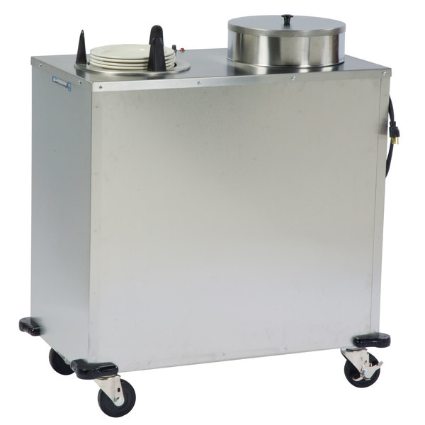 """Lakeside E6210 Enclosed Stainless Steel Heated Two Stack Plate Dispenser for 9 1/4"""" to 10 1/8"""" Plates"""