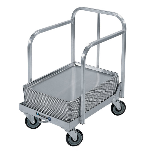 "Lakeside 631 Aluminum Sheet Pan Dolly with Sides, Handle, and 5"" Casters Main Image 1"